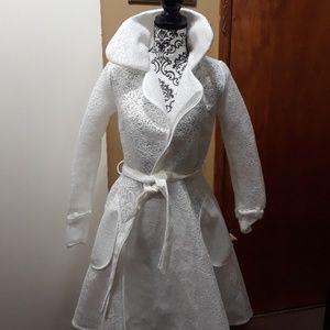 Jackets & Blazers - White Mesh Trench Coat